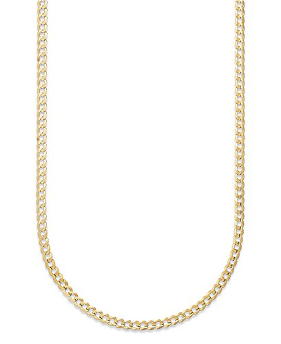 14K Solid Yellow Gold 1.5mm Cuban Curb Link Chain Necklace- Made in Italy- 20'' by PORI JEWELERS