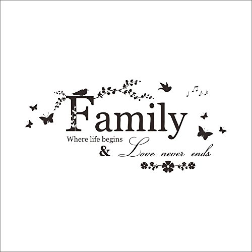 AIUSD Clearance , Family Letter Quote Removable Vinyl Decal Art Mural Home Decor Wall Stickers