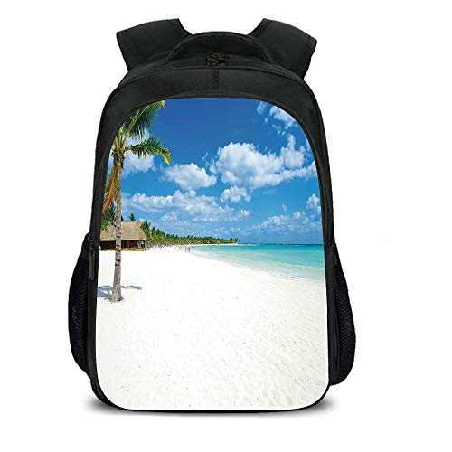 iPrint 15.7'' School Backpack,Beach,Tropical Exotic Seashore with Palm Trees and Clear Sky Island Nature Summertime,Blue White Green,for Teenagers Girls Boys by iPrint