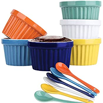 Souffle Dish Ramekins for Baking - 8 Ounce (Set of 6, Assorted Colors with 6 Extra Spoons) 8 Oz, 4-inch Ceramic Oven Safe Round Bowl for Creme Brulee Desserts Puddings Custard Cup Ice Cream Lava Cake
