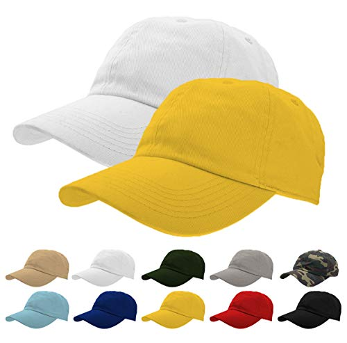 White Baseball Cap Set - TrueM Clothing Set of 2 Classic 100% Washed Cotton Plain Baseball Caps Dad Hats Polo Style Adjustable Size Unstructured Soft (Yellow/White)