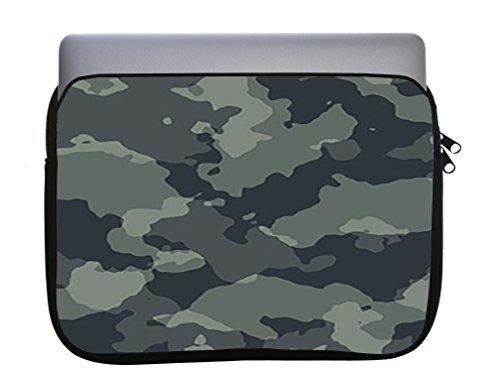 (Camouflage Camo Green Dark Black 11x14 inch Neoprene Zippered Laptop Sleeve Bag by Moonlight Printing for Macbook or any other laptop)