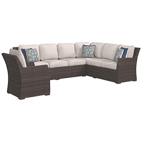- Ashley Furniture Signature Design - Salceda Outdoor 3-Piece Sectional Set - Sofa Sectional & Chair with Cushions - Beige & Brown