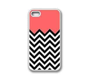 iPhone 4 Case White Silicone Case Protective iPhone 4/4s Case Coral Plus Chevron