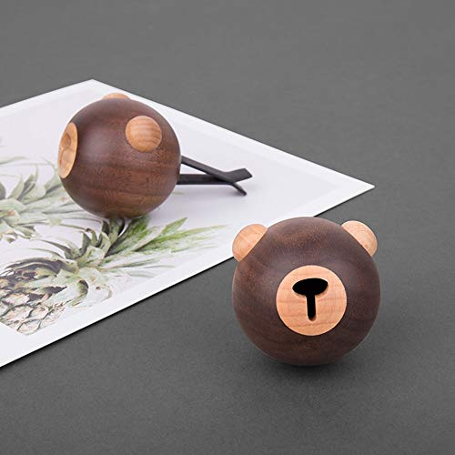 MQW Solid Wood Cartoon Bear Car Aromatherapy Car Air Outlet Perfume Decoration Wooden Craft Creative Gift Delicate and Beautiful