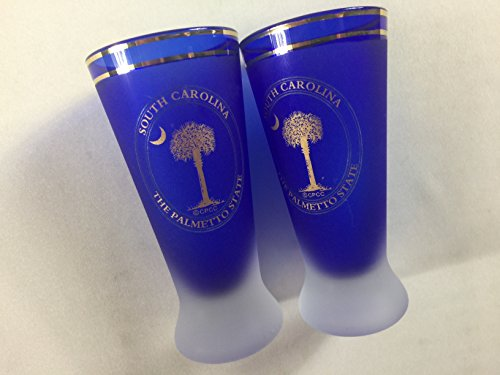 South Carolina Shot Glasses Tall Lot Of 2 VTG Drinking Cup The Palmetto State