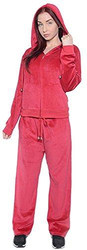 Fancy Jade Women's Plus Size Athletic Soft Velour Zip Hoodie and Sweat Pants Set (Wine, 2X)