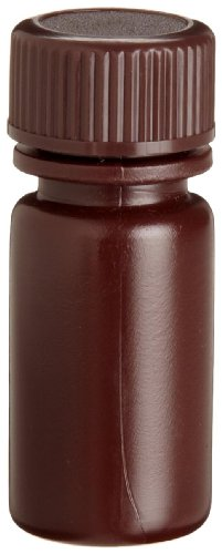 Wheaton 209121 HDPE Leak Resistant Narrow Mouth Bottle, 0.1oz With 13-425 Screw Cap, Amber, 16mm Diameter x 38mm Height (Case Of 72) ()