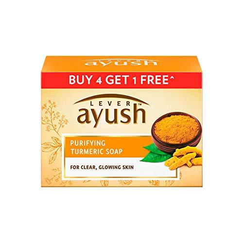 Lever Ayush Purifying Turmeric Soap, 100 g each (Buy 4 Get 1)