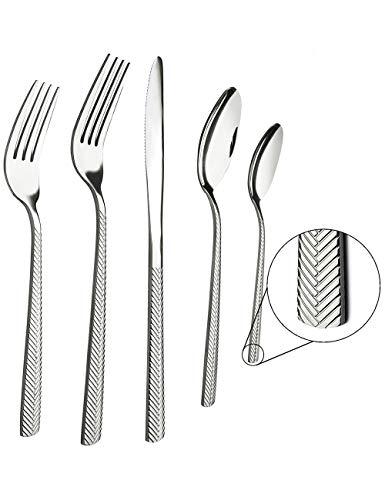 (Acnusik Silverware-Set-Stainless-Steel-Flatware Heavy Duty 20 Piece Polishing Forks Knives and Spoons for Kitchen Service 4,)