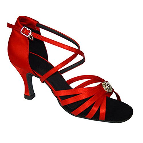 GUOSHIJITUAN Mujer S Zapatos De Baile Latino,Satén Cabeza Redonda Fondo Blando Tacón Alto Salsa Zapatos De Baile Tango Zapatos De Baile Social A