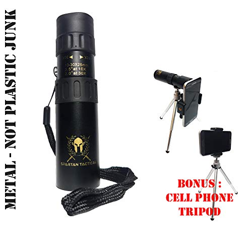 (Spartan Tactical, Monoculars for Adults, Binocular Gifts for Men, Telescope, High Power Zoom Monocular, Best 30X Zoom!!, Camping Gear, Spotting Scope, Free Cell Phone Tripod, Molon)