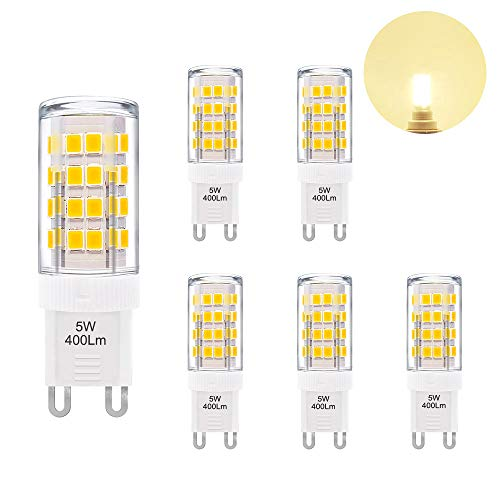 5W G9 GU9 LED Light Bulbs Capsule Bulbs Small Corn Light Bulbs Warm White 3000K 400Lm AC110-120V Replace 40W G9 Halogen Lamp 6 Pack by Enuotek
