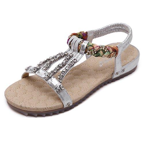 Mode 35 Plateformes Femmes Argent Plage JRenok Chaussures Sandale Tongs Strass Clip Toe Antidérapantes de Sandales 42 Bohême qE6a1ant