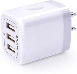 USB Charger Cube, Wall Charger Plug, Ailkin 3.1A 3-Muti Port USB Adapter Power Plug Charging Station Box Base Replacement for iPhone X/8/7, iPad, Samsung Phones and More USB Charging Block