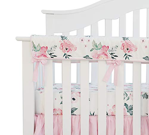 Sahaler Baby Crib Rail Cover Long Crib Rail Guard Baby Teething Cover Protector Wrap Nursery Bed Rails Cover (Pear Pink Floral)