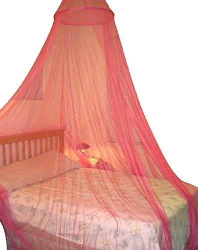 Round Hoop Bed Canopy Netting Mosquito Net Fit Crib, Twin, Full, Queen, King (Red) Octorose Hoop-red