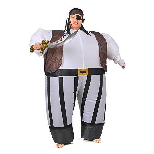 RHYTHMARTS Inflatable Pirate Costume Easter Suits Fancy Dress Cosplay Costumes (Pirate Black) -