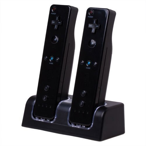 Dual Charging Station w/ 2 Rechargeable Batteries & LED Light Compatible with Nintendo Wii / Wii U Remote Control, Black (Remote Wii Charger Dual)