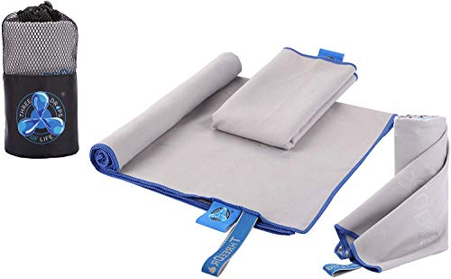Microfiber Towel Variety Three Pack Set, Super Absorbent, Lightweight & Ultra Compact, Best for Gym, Camping, Hiking, Backpacking and Yoga Fitness (Gray)...