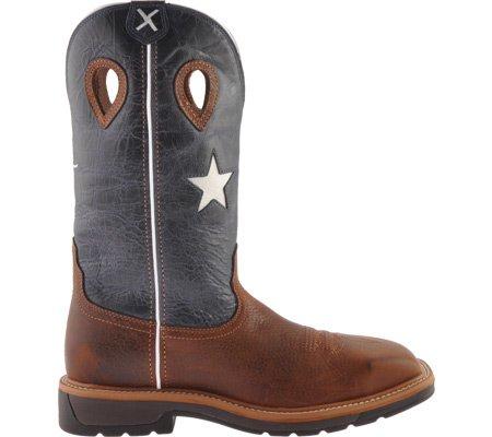 Vridna X För Män Lite Cowboy Stålhätta Work Brun Texas Flagga