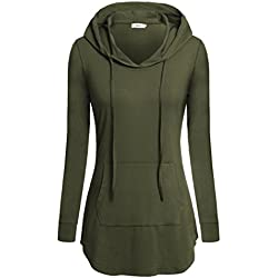 Bepei Women Hoodies, Long Sleeve Casual Sweatshirts Crewneck Pocket Shirt Green M