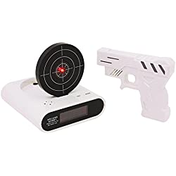 Pawaca Target Alarm Clock with Gun, 12hr Time Display - Infrared Target and Realistic Sound Effects - LED Digital Display Game Toys Gifts For Christmas New Year (White)