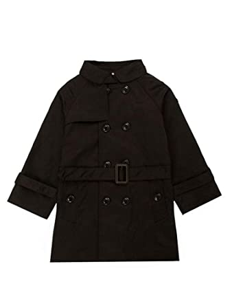 32fc420246c4 Amazon.com  Mallimoda Girls Boys British Cotton Blend Trench Coat ...
