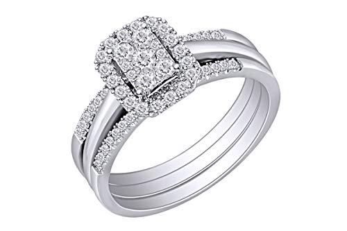 1/2 Carat Wishrocks Round Natural Diamond Amour Halo Bridal Wedding Engagement Ring 14k White Gold Ring Size-4.5