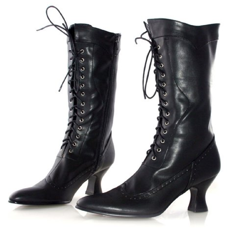 Women's 2 1/2 Inch Heel Ankle Boot With Lace (Black PU;6) -