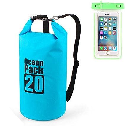 bb816b856138 Outer Waterproof Backpack Swimming Rafting Kayaking Sailing Canoe Phone Dry  Bag (Blue - 20L)