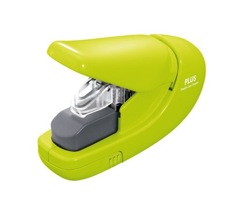 plus-paper-clinch-staple-less-stapler-green