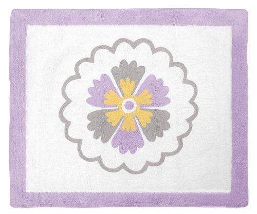 Lavender and White Suzanna Floral Flower Accent Floor Rug