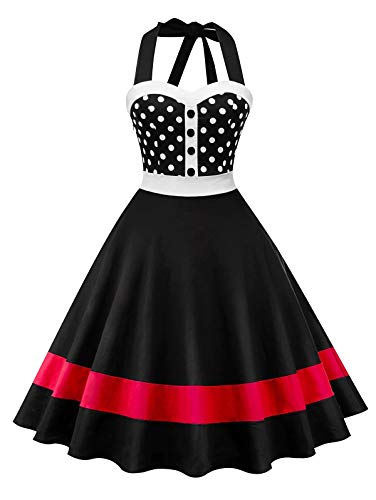 Dotted Halter Dress - Nihsatin Womens Halter Vintage Polka Dot Cocktail Prom Dresses 50's 60's Rockabilly Swing Dress