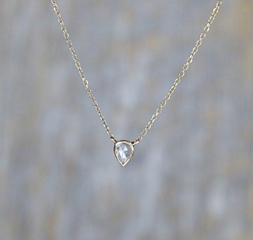 (14k gold Dainty Diamond Solitaire Necklace- Genuine Diamond kite pear shape- 17