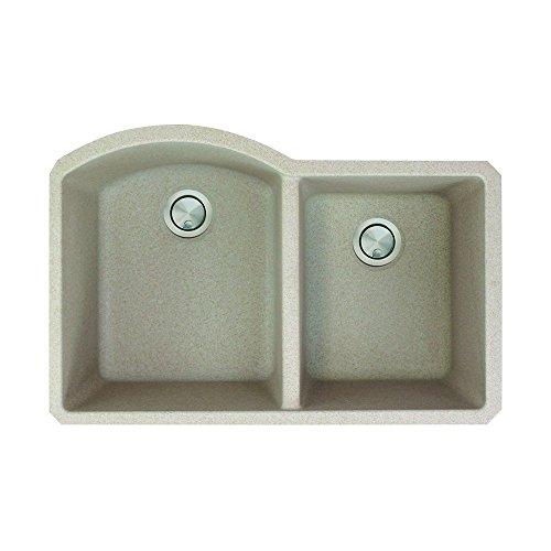 Transolid AUDD3120-16 Aversa 31.375-in x 20.5-in x 9.5-in Granite 1-3/4 D-Shape Double Undermount Kitchen Sink, Cafe Latte