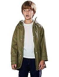 SOLOCOTE Kids Rain Jacket Hooded Lined Raincoat for Boys/Girls Waterproof Windproof with YKK Zipper, 180806 Khaki C 7-8Y