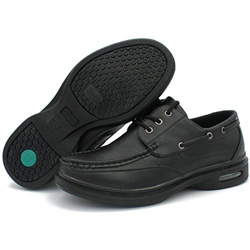 Hans Mens Slip Resistant Restaurant Work Shoes Lace Up Oil Black Non Slip Chef Kitchen Food Service  7 5 D M  Us Men  Black