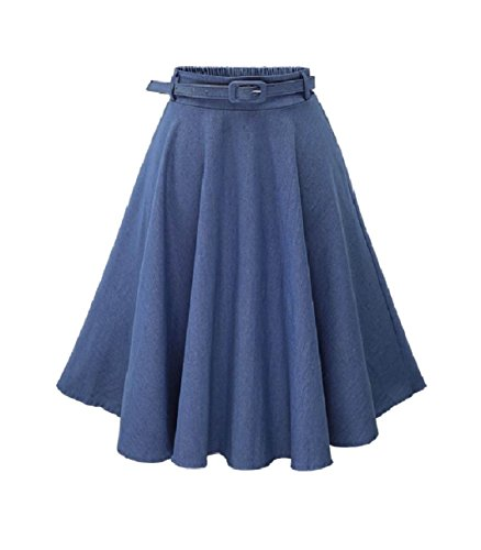 Circle Full Jeans (Zago Women's Casual Leisure Full Circle Highwaist A-line Denim Skirt Light Blue OS)