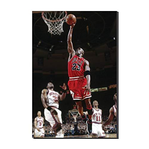 WALKKING WAYS Basketball Star Michael Jordan Domineering Slam Dunk Photo Print on Canvas Painting Wall Art Decor (Michael Jordan Best Dunks Of All Time)