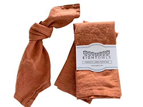 Eight Owls Linen Napkins -100% French Flax - Stonewashed Pure Linen Cloth Napkins - Size 18 Inch x 18 Inch - Set of 4 (Rustic Orange)