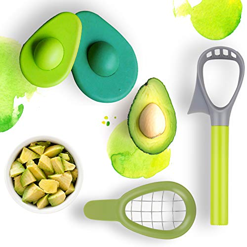JUSTDOLIFE 3 in 1 Avocado Slicer with Avocado Saver and Avocado Cube Dicer Cutter, Fruit Slicer Kitchen Tool for Avocado Cutting (Green)