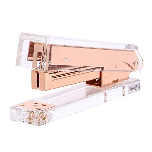 DRROT Acrylic Rose Gold Desktop Stapler - A Classic Modern Design - Elegant Office Desk Accessory