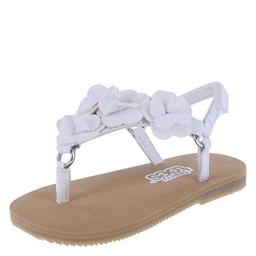 Baby Girl Dress Sandals (Teeny Toes Girls White Girls' Infant Flower Charlotte Sandal 2 Regular)