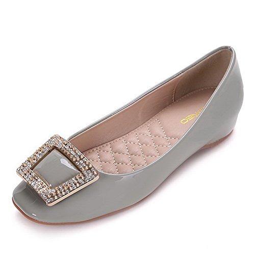 AalarDom Damen Weiches Material Ziehen Auf Quadratisch Zehe Niedriger Absatz Pumps Schuhe Grau-Inner Hohe Absatz