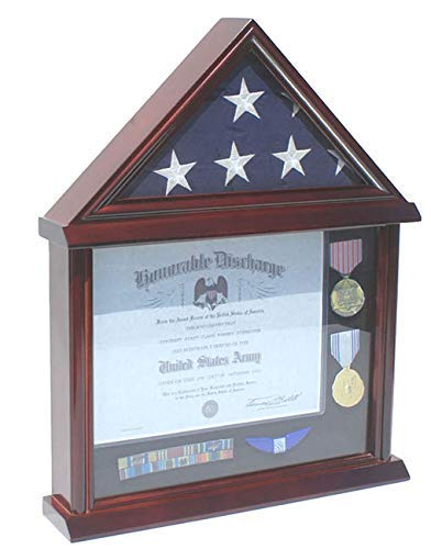 (Flag Display Case Certificate Frame Document Holder Stand for 3' X 5' Flag only, Military Medal Pin Shadow)