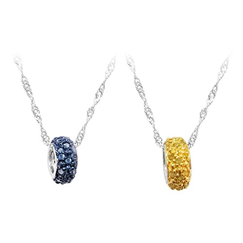 Silver 0.20ctw Blue Diamond Circle Pendant Necklace (Blue Diamond Circle Pendant)