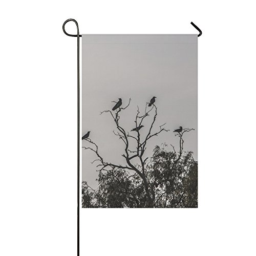 Home Decorative Outdoor Double Sided Crows Dark Tree Black Halloween Scary Bird Raven Garden Flag,house Yard Flag,garden Yard Decorations,seasonal Welcome Outdoor Flag 12 X 18 Inch Spring Summer Gift