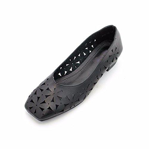 GTVERNH Zapatos de Verano Transpirables Huecos con Cabeza Cuadrada y Poco Tacón para Mujer negro