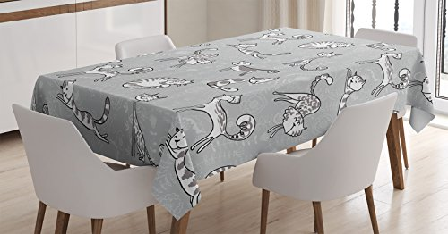 Figure Kitten - Grey Decor Tablecloth by Ambesonne, Cute Cat Figures Posing over Floral Background Feline Kitten Kitty Cartoon Art Prints, Dining Room Kitchen Rectangular Table Cover, 60 W X 90 L Inches, Grey